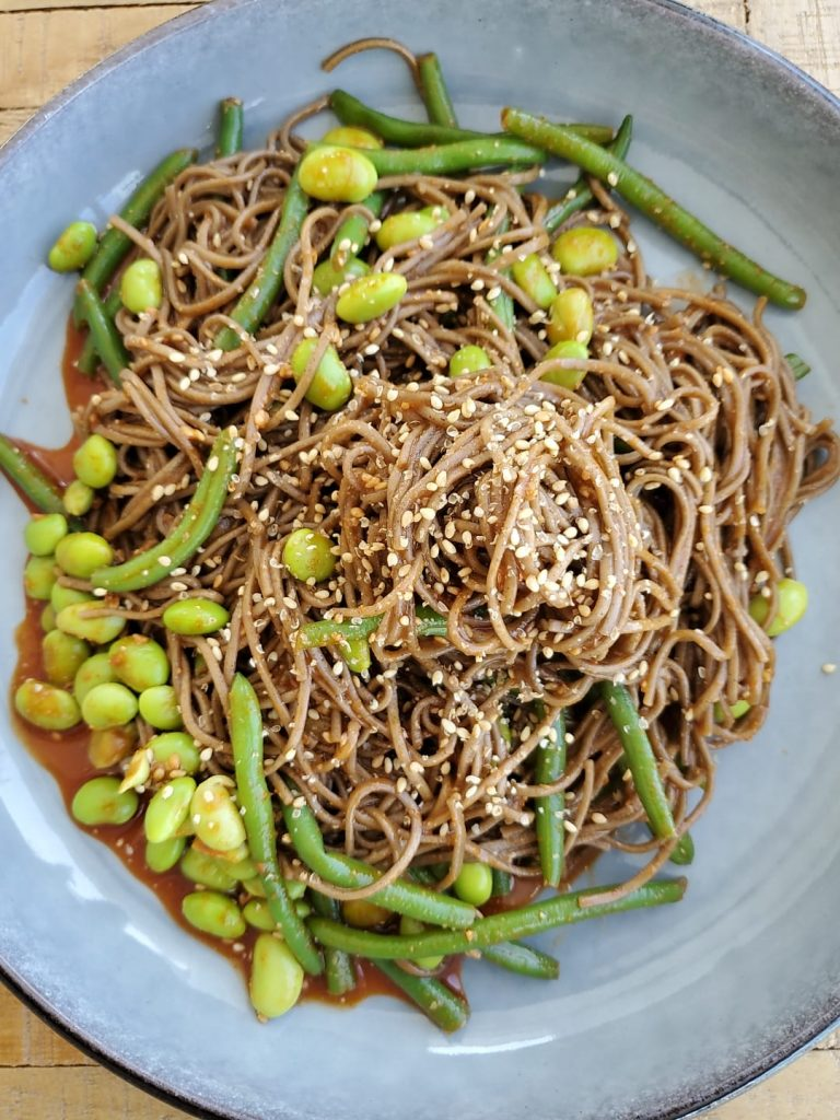 An overhead photo of the spicy soba noodles. the first  freezer & pantry recipe in this post