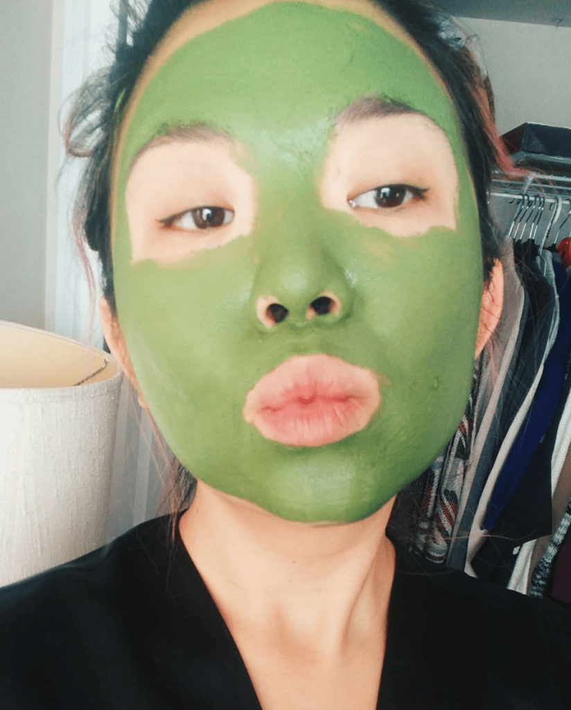 Rose with face mask applied