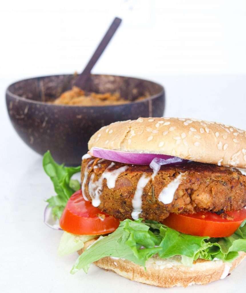 close up shot of chickpea burger patty