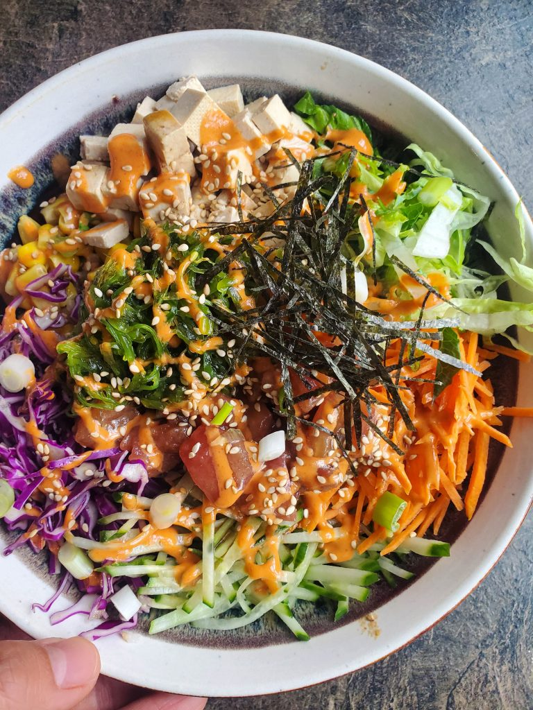 not an easy vegan meal but shows a bowl of vegan tuna poke bowl
