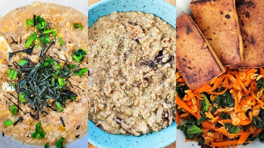 a collage of overhead photos of the three savoury oatmeal recipes already in serving bowls