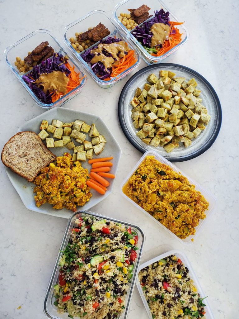 an overhead shot of all the recipes made for the high protein vegan meal prep